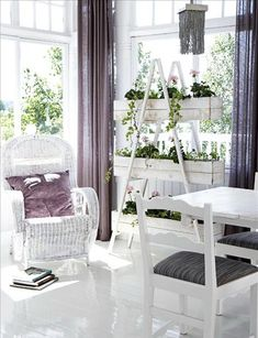 ladder with wooden boxes for plants - 55 Cool Shabby Chic Decorating Ideas | Shelterness