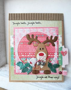 Christmas card by DT member Boukje with Collectables Eline's Reindeer (COL1369) from Marianne Design