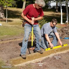 Easy Shed Foundation - In most cases, a shed doesn't have to rest on deep footings. A pair of trenches filled with gravel and topped with treated 6x6s is adequate in areas with well-drained soil. Level and square the 6x6s and you're ready to build and attach the joist system.