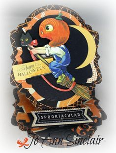 Easel card, made with dies from Lifestyle Crafts. Paper, embellishment and sentiment are from Anna Griffin. Halloween Scrapbook, Halloween Tags, Vintage Halloween, Fall Halloween, Halloween Crafts, Halloween Ideas, Happy Halloween, Anna Griffin Cards, Easel Cards