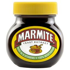 Marmite. You either love it or hate it! Made in Burton on Trent, England. My granddaughters love it!