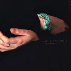 Anchor Bracelet. GOLD PLATED. Mint Bracelet. Sea Nautical Bracelet. Marine Rope Bracelet. Mens Bracelet. Bracelet for Man and Woman Jewelry