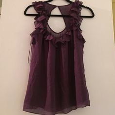 Rebecca Taylor Silk Top LIKE NEW, Rebecca Taylor eggplant purple silk top. ruffle detailing and keyhole back. Gorgeous! silk has small polka dotted detailing on some of the ruffle neckline. size 4 Rebecca Taylor Tops Camisoles