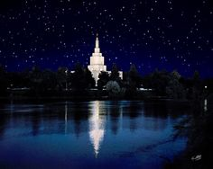 Starry Night Idaho Falls Temple by Ken Fortie Lds Temple Pictures, Church Pictures, Mormon Temples, Lds Temples, Beautiful Architecture, Beautiful Buildings, Idaho Falls Temple, Night Sky Painting, Lds Art