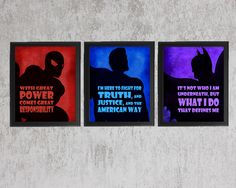 Superhero Set of 3 - photo prints - Type Poster Wall Art Textured Beige Black Vintage Style Superman Spiderman Batman Nursery Instant Decor by quotograph on Etsy https://www.etsy.com/listing/182520205/superhero-set-of-3-photo-prints-type