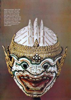 Mask of 'Hanuman', the monkey King, leaders of Rama's army. From 'Masks of Khon' : Khon, the traditional dance-drama of thailand, originated from India, via Java and Malaysia, probably in the fifteenth century. Its basic plot comes from the semi-religious epic, 'Ramakien', which is Thailand's version of the  3,000-year-old Hindu drama, 'Ramayana'. Source: 'Orientations Magazine', Feb, 1972. Photographed by Dinshaw Balsara.