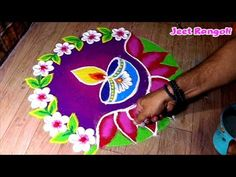 Easy Rangoli Designs Diwali, Rangoli Simple, Indian Rangoli Designs, Rangoli Designs Latest, Rangoli Designs Flower, Free Hand Rangoli Design, Small Rangoli Design, Rangoli Border Designs, Rangoli Patterns