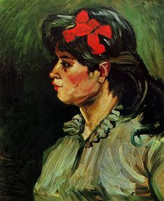 Portrait of a Woman with Red Ribbon. Vincent van Gogh               Private Collection 1885. 60.0 x 50.0 cm