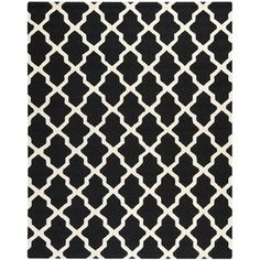 @Overstock - Hand-tufted of a 100-percent wool pile, this handmade wool rug features a special high-low construction to add depth and unusual detailing inspired by Moroccan design updated with today's freshest colors.http://www.overstock.com/Home-Garden/Handmade-Cambridge-Moroccan-Black-Wool-Rug/7530619/product.html?CID=214117 $30.99