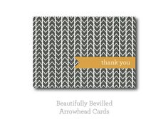 Brown and Mustard Thank You Cards by BeautifullyBevilled on Etsy, $15.00