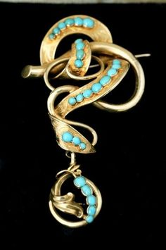 Victorian Large 18ct 18 carat 18k Gold Persian Turquoise Love Brooch