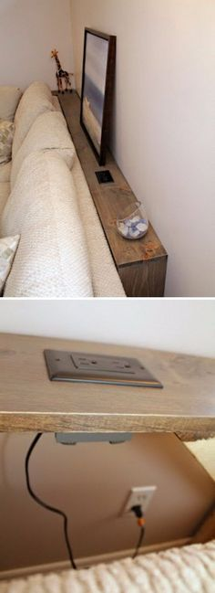 This DIY Sofa Table Behind Built In Outlets Allows You Plug In Your Electronics . This DIY Sofa Table Behind Built In Outlets Allows You Plug In Your Electronics Easily. Skinny Tables, Skinny Console Table, Mesa Sofa, Diy Sofa Table, Diy Couch, Behind Couch Table Diy, Bed Table, Narrow Sofa Table, Dining Table
