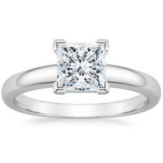 Princess Cut 3mm Comfort Fit Solitaire Diamond Engagement Ring - Platinum