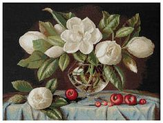 B465 Magnolia €27.00  Kit completo de punto de cruz Marca: Luca-S Hilos: Anchor Tela Aida: Zweigart Medidas: 42*33cm Colores: 38