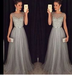 prom dress long, unique beading grey prom dress for teens, plus size prom gown, plus size long evening dress 2016 Prom Dresses Long Modest, Grey Prom Dress, Prom Dresses For Teens, Tulle Prom Dress, Homecoming Dresses, Silver Dress, Dress Formal, Dress Long, Vestidos Plus Size