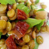 Green lentil salad.  This is delicious.  Can substitute diced tomatoes for sundried, can use 1/2 the balsamic, and parsley isn't necessary