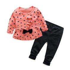 2016 Children Baby Girl Heart-shaped Bow t shirt+pants Clothes Set Suit Top Sweater clothing set Newborn Outfits, Toddler Outfits, Kids Outfits, Baby Girls, Toddler Girls, Trendy Baby Girl Clothes, Long Sleeve Outfits, Baby Girl Winter, Outfits