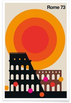 Rome 73 - Bo Lundberg - Poster im Holzrahmen Vintage Graphic Design, Graphic Design Posters, Graphic Design Illustration, Graphic Design Inspiration, Typography Design, Graphic Art, Illustration Art, Posters Conception Graphique, Kunst Poster