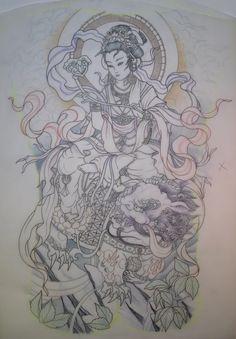 HOLY AWESOMENESS! Geisha & Fu Dog back tattoo