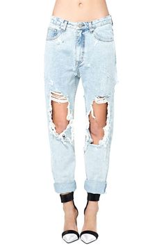 The name of these Nasty Gal jeans is quite annoying to me. I'm tired of the word twerk. It was fine until they commercialized it. Anyways I won't be purchasing these but I will go to the thrift store, find some light wash boyfriend jeans, and cut them up exactly like this. I'm using this picture as a reference.