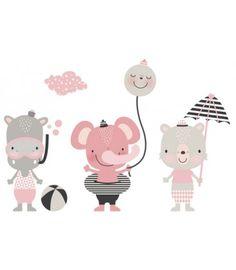 Vinilo infantil estilo nórdico rosa animales playa Baby Images, Safari Animals, Watercolor Animals, Baby Wearing, Baby Room, Hello Kitty, Illustration Art, Cross Stitch, Doodles