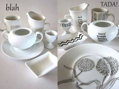 Write or draw on dishes with a porcelain marker.  LOVE this idea for gifts.