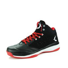 28.50$  Watch now - 2016 Men's Basketball Shoes Black/Red Basketball Boots Middle Top Cheap Basketball Sneakers Basket Shoe Leather Athletic Sneaker  #aliexpresschina