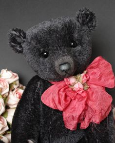 "Piper a 14"" black mohair bear by Victoria Allum of Humble Crumble Bears"