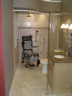 to design a handicap wheelchair accessible bathroom – Part 1 the Shower Base & Entry Designing a handicap wheelchair accessible bathroom – Part 1 Shower Base & Door EntryDesigning a handicap wheelchair accessible bathroom – Part 1 Shower Base & Door Entry Ada Bathroom, Handicap Bathroom, Small Bathroom, Bathroom Remodeling, Bathroom Ideas, Bathroom Stall, Bathroom Showers, Chic Bathrooms, Bathroom Layout