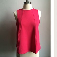 TopShop Textured Shell Top Zip-back Size 6. Worn once! Topshop textured top with slight crop and trapeze drape bottom in cranberry color. Zip on back.  In perfect condition. Topshop Tops