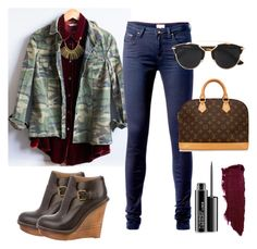 """""""Classic jeans outfit"""" by mandajenae ❤ liked on Polyvore featuring Tommy Hilfiger, Chloé, Louis Vuitton, Christian Dior, MAC Cosmetics, Lipstick Queen, vintage, women's clothing, women and female"""