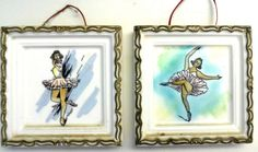"""Pair of 2 Beautiful Vintage 6"""" Ballerina Plaques Pictures - Made in Japan"""