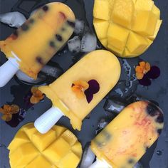 vitalityandmore  One of the benefits of going 100% Organic means you get to make your own delicious icy-poles like these…  Organic Mango & Blueberry Icy-poles thanks to our @zokuhq icy-pole maker to cool down tonight, all natural real fruit & no sugars, artificial colors or preservatives