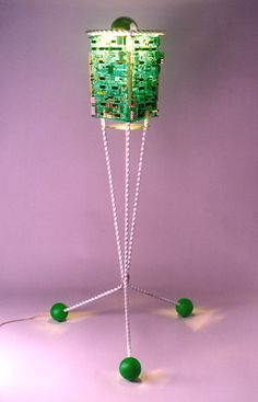 GreenSat: lamp from old circuit boards #CircuitBoard, #ElectronicsEWaste, #Light, #Reused
