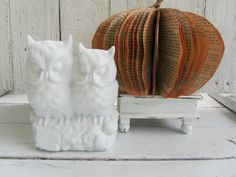 White owls for modern decorating or Fall decorating