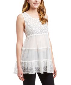 Simply Irresistible White Sheer Tiered Scoop Neck Top | zulily