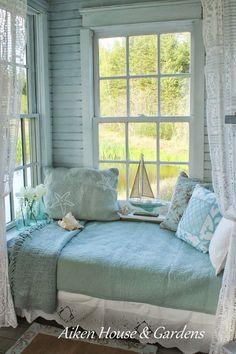 Love this little window seat, so cozy