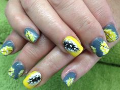 Yellow and grey nail art, feathers paint