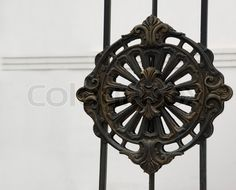 Stock image of 'Iron ornament. The forged pattern from steel on a gate of church'