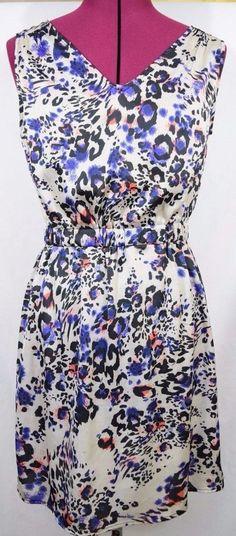 Womens #Dress Size XS #Leopard #AnimalPrint Purple Coral Beige Sheath Cinch Waist  #Sexy
