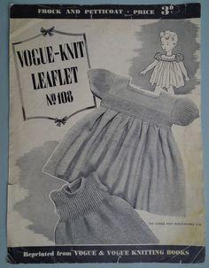VOGUE Knitting Pattern Vintage 1940s Baby Dress Frock Petticoat babies clothes 40s original pattern. $12.95, via Etsy.