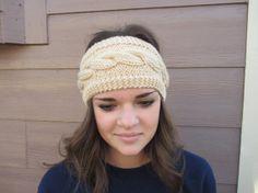 Cream Cable Knit Headband
