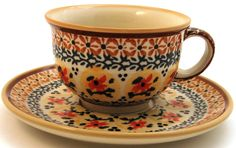 Boleslawiec Polish Pottery Cup & Saucer Set - Design DU70 $18, You Save $17.99