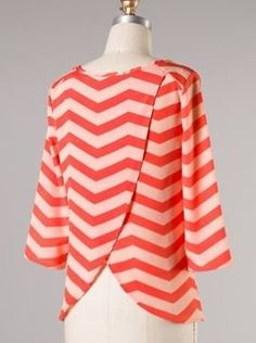 Coral Chevron Top with Back Detail - $38.99 : FashionCupcake, Designer Clothing, Accessories, and Gifts