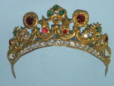 e8f8de3e96 Antique French Gilt Metal Ormolu Jeweled Tiara Crown Diadem 19th Century  Metal Crown