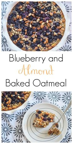 The Art of Comfort Baking: Blueberry and Almond Baked Oatmeal. So good, healthy (no refined sugars!) and easy! Double it and freeze the 2nd batch for later.
