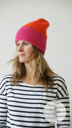 colourful chunky handknitted hat in pink and orange by ADashOf - I like colour combination