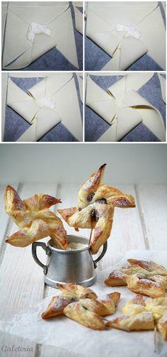 Molinillos de hojaldre rellenos de queso y nutella / http://www.galeteria.cat/