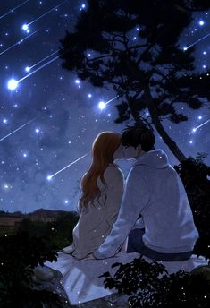 Anime Couples Kissing under shooting stars Anime Couple Kiss, Couple Manga, Couple Cartoon, Cute Anime Couples, Anime Sweet Couple, Anime Amor, Manga Anime, Cute Couple Art, Couple Illustration