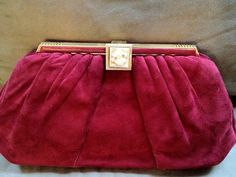 VINTAGE JUDITH LEIBER Red Suede Clutch Bag by ClarendonCouture, $375.00